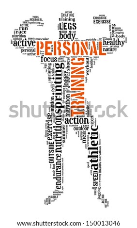 personal training info-text graphics and arrangement concept (word cloud) - stock photo