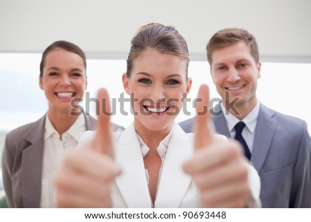 Personnel recruitment team giving approval to applicant - stock photo