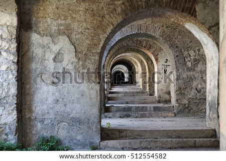 perspective arches in the abandoned fortress on San Marco mount