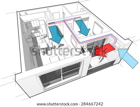 Perspective cut-away diagram of a one bedroom apartment, completely furnished with two indoor wall air conditoner and external unit situtead on the balcony