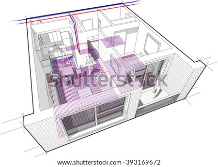 Perspective cutaway diagram of a one bedroom apartment completely furnished with hot water underfloor heating and central heating pipes as source of heating energy
