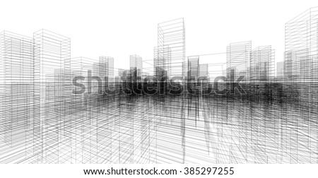 perspective 3 d render building wireframe stock illustration