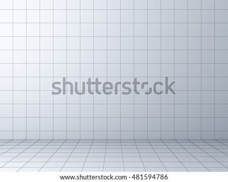 Perspective grid background. 3D rendering.
