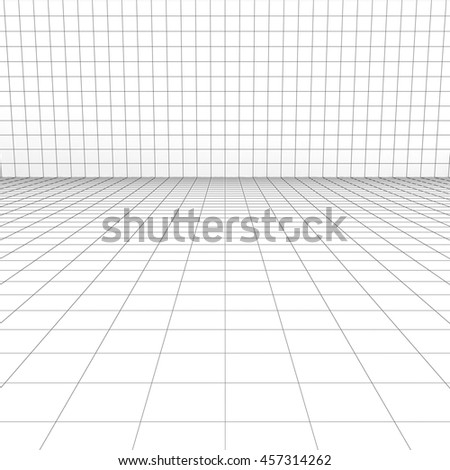 Perspective grid over white background. 3D rendering.