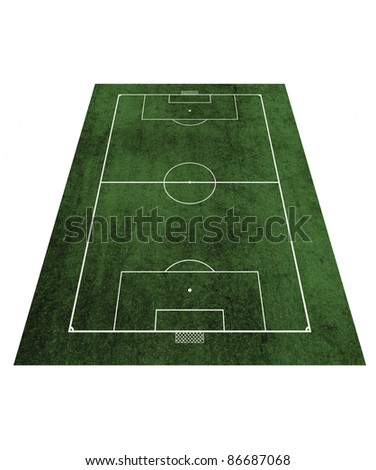 Perspective Grunge Football field - stock photo