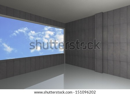 Perspective of empty room, bare concrete wall and reflecting floor, blue sky background - stock photo