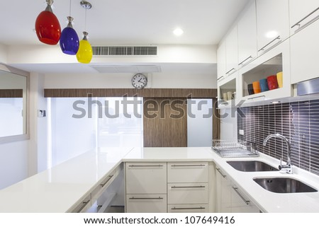 Perspective of modern kitchen - stock photo