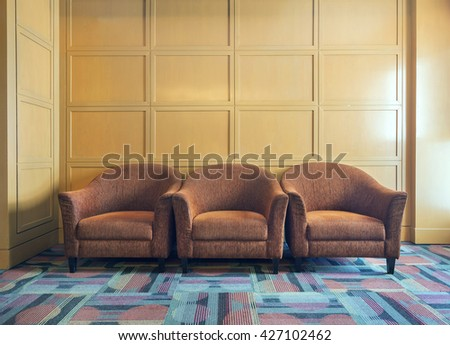 perspective of old sofa  - stock photo