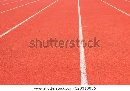 perspective of race track, vertical ,Red Asphalt for runners , - stock photo