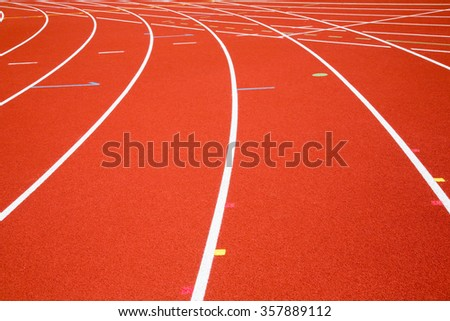 perspective of race track, vertical ,Red Asphalt for runners - stock photo