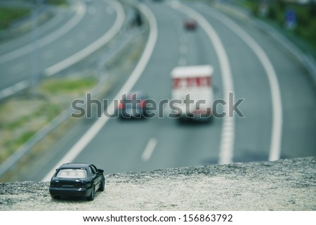 perspective of the car on the highway - stock photo