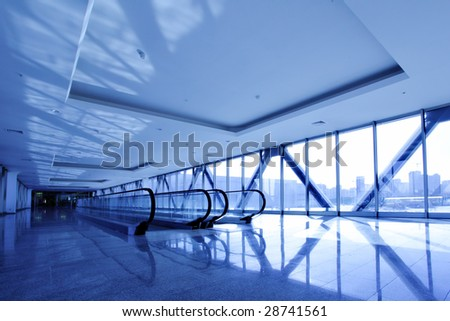 Perspective of the corridor toned in blue color