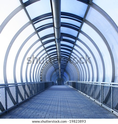 Perspective of the passage toned in blue colo - stock photo