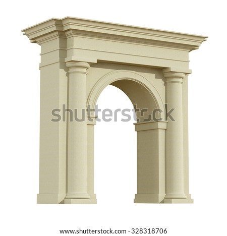 Perspective view of a classic arch in tuscany order isolated on white - 3D Rendering - stock photo