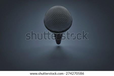 Perspective view of a Microphone on infinite stage room - stock photo