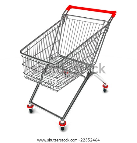 Perspective view of a shopping cart in 3D