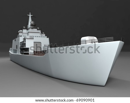 Perspective view of battleship - stock photo