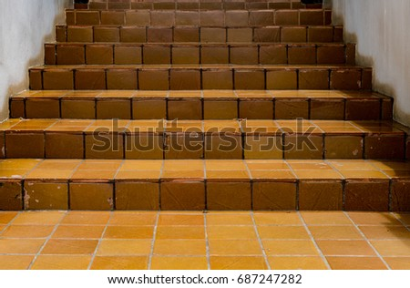 Perspective View Of Brown Ceramic Tile Staircase