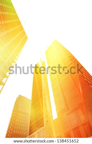 Perspective view of buildings in the city - stock photo