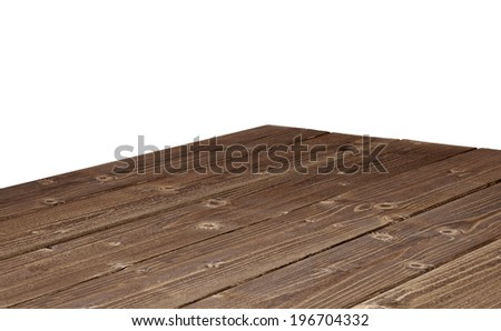 Perspective view of log table corner on white background - stock photo