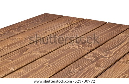 Perspective view of log table corner on white background including clipping path