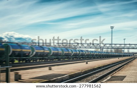 Perspective view of modern tank wagons. - stock photo