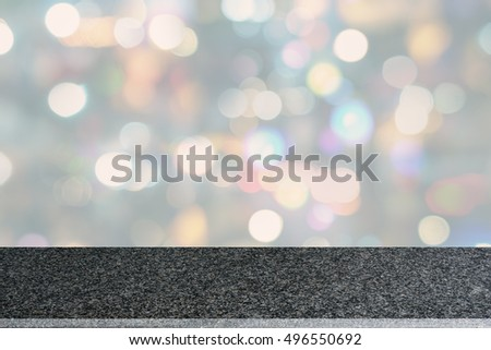 Perspective View Of Polished Granite Countertop / Table Top With White  Bokeh Background. Stone Slab