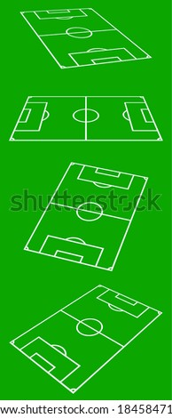 Perspective View Of Soccer Field On Green Background - stock photo