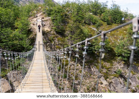 Perspective view of suspension bridge - stock photo