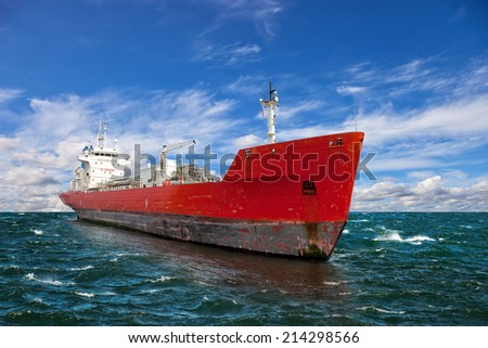 Perspective view on a tanker at sea. - stock photo