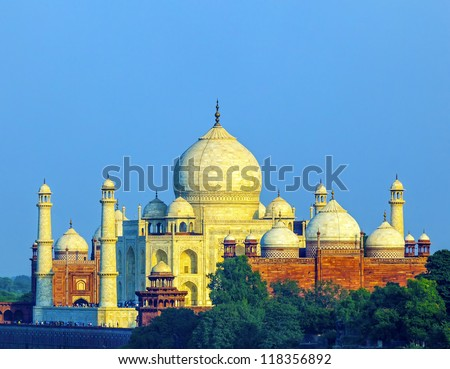 perspective view on Taj-Mahal mausoleum from red fort, Agra - stock photo