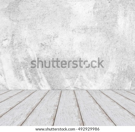 Perspective white wood over cement wall background