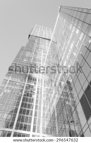 Perspective wide angle view to steel light  glass surface, building skyscraper - stock photo