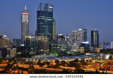 PERTH, AUSTRALIA -15 DEC 2016- Night urban landscape view of the city of Perth in Western Australia. Perth, located on the coast of the Indian Ocean, is the fourth most populated city in Australia.