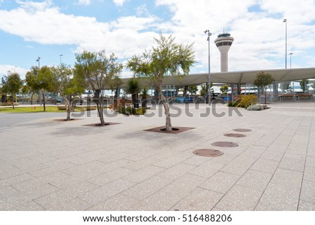 PERTH, AUSTRALIA - NOVEMBER 4,2016 : Control tower in perth airport. Perth Airport is a domestic and international airport serving Perth, the capital and largest city of Western Australia.