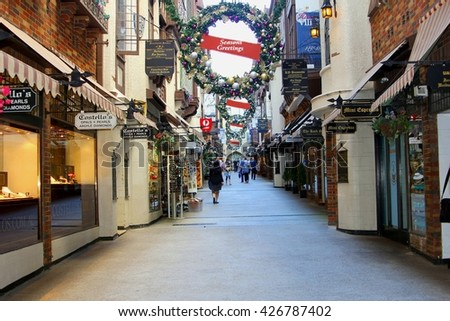 PERTH, AUSTRALIA - November 14. Shopping street London Court with Christmas decorations in the holiday season on November 14, 2015 in Perth.  - stock photo