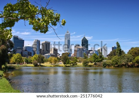 Perth, Australia - skyline view from John Oldany park. - stock photo