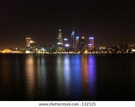 Perth city at night skyline - stock photo