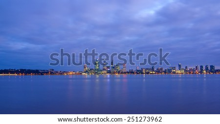 Perth city skyline view from swan river - stock photo