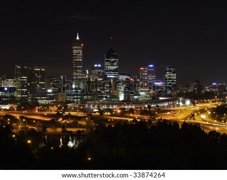 Perth Skyline at night in Western Australia - stock photo