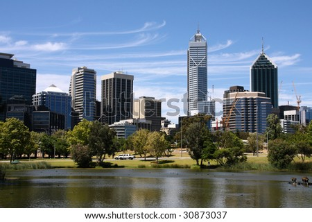 Perth view from John Oldany park. Australian city water reflection.