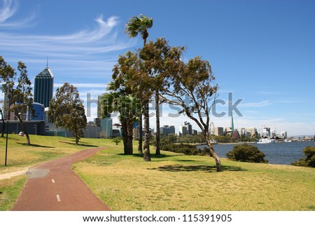 Perth, Western Australia. Bicycle route and coastal cityscape.