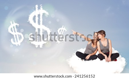 Pertty young women sitting on cloud next to cloud dollar signs - stock photo