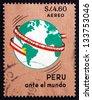 PERU - CIRCA 1967: a stamp printed in the Peru shows Globe with Map of Peru, circa 1967 - stock photo