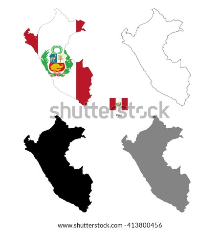 Peru country black silhouette and with flag on background, isolated on white - stock photo
