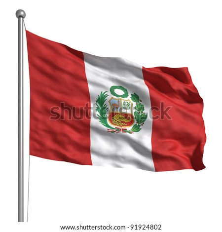 Peru flag - stock photo