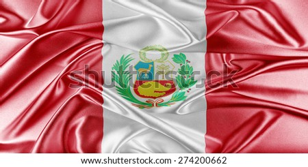 Peru Flag. Flag with a beautiful glossy silk texture. - stock photo
