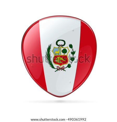 Peru Flag Icon, isolated on white background.