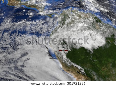 Peru flag on pole on earth globe illustration - Elements of this image furnished by NASA - stock photo