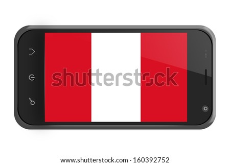 Peru flag on smartphone screen isolated on white - stock photo